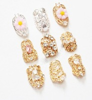 free shipping  beauty nail charms 10pcs/lot new 3d nail art decorations full tip nail metal bow glitter Wedding decoration(N003)