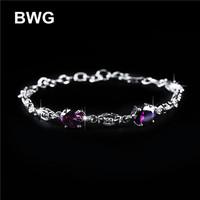 BWG Fashion Jewelry Trend Bracelets Silver Plated A+++ Purple Cubic Zirconia Copper Bracelet For Women SS1012