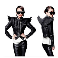 Designer New Autumn Slim Women Motorcycle Outerwear Punk Zipper Black Leather Clothing Female Short Jacket With Wings