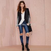 Novelty Blazer Women Patchwork V-Neck PU Single Button Women Coats Full Sleeve Sequins Cool 2014 Autumn Winter Slim Coat Girls