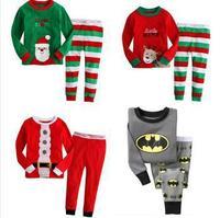 2015 fashion children clothing Christmas suits 100% cotton Long sleeves girls boys baby pajama sets kids sleepwear