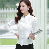 2014 new arrival women all-match ruffles ol  long-sleeve chiffon formal shirt female slim rhinestone work blouse