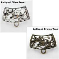 YBB Wholesale 31x45mm Antiqued Silver Bronze Cherry Charm Bail Connector Bead Fit Bracelet L090