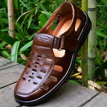 Couro genuíno dos homens verão sandálias masculino marca recorte comercial cor marrom preto cunhas sapatos casuais sandálias gladiador masculinos 6(China (Mainland))