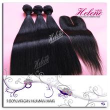 100% Unprocessed 6A Brazilian Virgin Hair Straight Lace Closure With 3 pcs Hair Bundles HumanHair Weave Brazilian Hair Extension(China (Mainland))