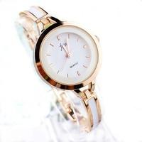 Fashion women's bracelet alloy quartz watch silver and gold two color J01