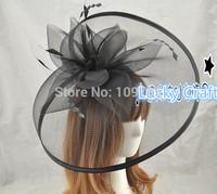 Free Shipping Fashion New Lady Sinamay Hat Mesh Bow Fascinators Black Beige