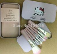 Free shipping New Hello Kitty 7 pcs Makeup Brush Set + metal box