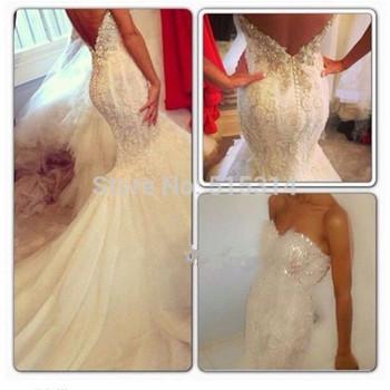 Нестандартного размера милая спинки кружева бисероплетение кристалл романтический секси длинный русалка свадебные платья 2014 AQ58