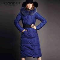 2014 Winter Hot Thicken Warm Woman Down jacket Luxury Coat Outerwear Parkas Hooded Fox Fur collar Plus Long Slim Blue