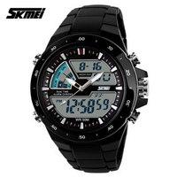 SKMEI Men Sports Watches Waterproof Fashion Men's Watch Digital Analog Military Multifunctional Wristwatches (black)