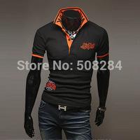 New Fashion Men T-Shirt Short Sleeve Turn-down Collar 2 Colors Size M-XXL Good Quality Free Shipping
