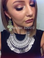 Bohemian vintage gypsy beachy tribal ethnic clover flower coin fringed drop earrings turkish festival female jewelry