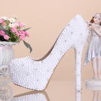 Free shipping New arrived 14cm glisten crystal shoes women high heels rhinestone high heel shoes platform pumps Wedding shoes