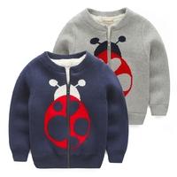 Children's sweatercoat 2014 beetle plus velvet thickening boy child cardigan outerwear child baby sweater
