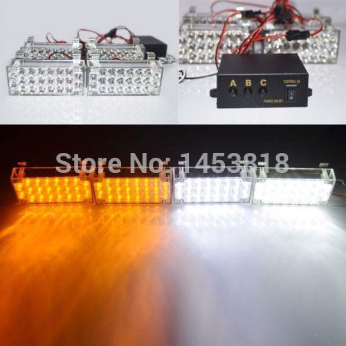 4 PCS x 22 LED branco / âmbar emergência aviso Flash Strobe luz Universal EMS Police Car luz bombeiros Grille Fog estacionamento(China (Mainland))