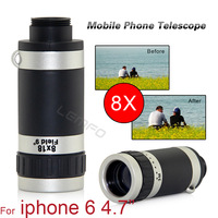 """8X18 Zoom Optical Lens Mobile Phone Telescope Camera For Apple iPhone 6 4.7"""" With Cleaning Cloth Phone Cover 2014 New Hot Sell"""