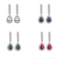 Luxury micro pave cut cz earring waterdrop fashion jewelry for wedding Jewelry hot sale design