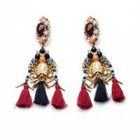 Fashion Tassels Flower Women Multicolour Jewelry Costume Drop Charm Handmade Vintage Alloy Earrings