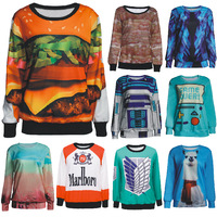 Spring Fall women men 2014 clothes Painting Style pullovers hoodies sexy sweatshirt fashion printed 3d plus size