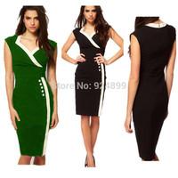 2015 New Fashion  Women V- neck   Sleeveless Sheath Shift Party Cocktail Patchwork career dress 3219#