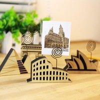 New Creative  Woody Memo Folder Note  Card Holder(95*55MM) (4 pieces/lot)