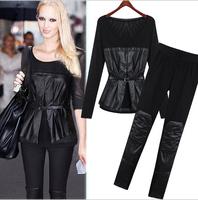 European 2014 Autumn fashion PU stitching Slim round neck long-sleeved T-shirt sash pants trousers suit  women's Sets 8147