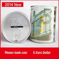 5 Euro Dollar Design Money Bank Coin Storage Aluminum Cover Pen Holder Functions Coin Bank