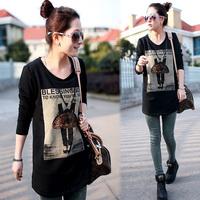 free shipping  autumn medium-long plus size clothing loose 100% cotton plus velvet basic shirt long-sleeve t-shirt female