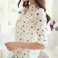 Women Casual Shirt Chiffon Blouse Ladies Long-sleeve Bird Printed Shirts Fashion Slim Blusas Femininas Camisas Dot Roupas