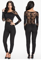macacoes femininos 2014  vestidos Winter Long Sleeve Black Lace Insert Hollow-out Fashion Jumpsuit  LC6788 Overalls Playsuit