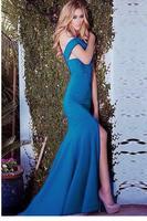 Blue Bare Shoulder Cross Backless Mermaid Floor-length Evening Dress LC6789 vestidos de festa vestido longo Dress to Party