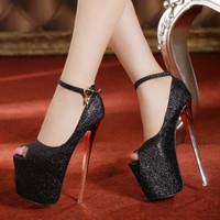 2014 women sexy club high heels 20cm hot sale woman shoes pumps platform red bottom shoes ladies open toe high heels