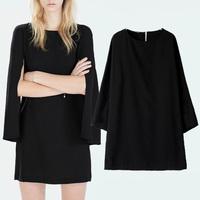 2014 Hot Sale Woman Fashion Black Poncho Crew Neck Simple Solid Cloak Raglan Sleeve Loose Dress Short Party Dresses New Arrivals