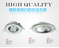 [Seven Neon]free DHL shipping 10pcs high quality AC85-265V 5W/10W/15W warm white/white LED down light with glass cover