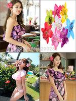 2PcsTrendy Bohemian Style Orchid Flower Hair Clip Womens Wedding Bridal Orchid Flower Leopard Hair Clip Barrette Hair Dress Gift