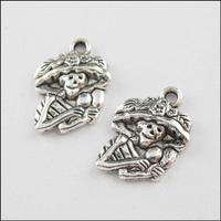 YBB Wholesale 14x20mm Zinc alloy Tone Christmas Antiqued Silver Charms farmer skeleton Pendants LY531