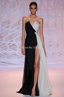 ZH07 New Designer White and Black A-Line Sweetheart Long Party Dresses Zuhair Murad Elegant Evening Dress Vestido de Festa 2015