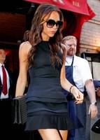 2014 New Hot Sale Victoria Beckham Dress is Sleeveless Design Slim Dress Sexy Mini Ruffled Black Dress