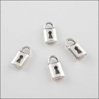 YBB Wholesale 8x14mm Zinc alloy Tone Antiqued Silver Charms Padlock Pendants LY534