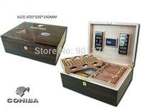 COHIBA Cedar Wood glossy Finish  Cigar Humidor  Humidifier W/Lock Hygrometer, FREE SHIPPING
