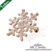 Christmas Gift Wholesale Cheap Fashion Rhinestone Snowflake Brooch Pin 5pcs/lot Free Shipping