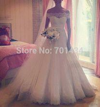 vestidos de noivas 2015 Sexy Off-shoulder Lace Wedding Dress Online Ball Gown Tulle Court Train Bride Wedding Gown Custom Made(China (Mainland))