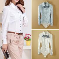 Fanshou Free Shipping 2014 Women Blouse Spring Autumn Body Shirt Ladies Casual Shirt Turn-Down Collar Bodysuit Blusas With Tie