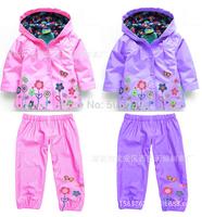 2014 new arrival fashion children suit (hoodie + pants), girls jacket and pants kids suit windproof jacket