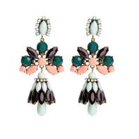 Trendy Flower Fashion Jewelry Charm Handmade Women Costume Drop Vintage Alloy Colourful Earrings
