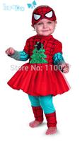 baby sets for Christmas kids spiderman clothing set children clothes red dress + leggings kids girl leeved suit for festival