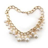 Fashion Women Big Imitation Pearl Short Chain Gold Plated Necklace 65263
