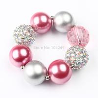 10pcs/lot New Arrival Pink Inspired Solid Chunky Pearl Beads Bracelet Bubblegum Princess Bracelet DIY Girls Jewelry