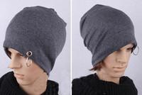 Free shipping  2014 Fashion BAGGY BEANIE Chic Unisex Men Women Metal Ring Hat Skull Cap Simm
